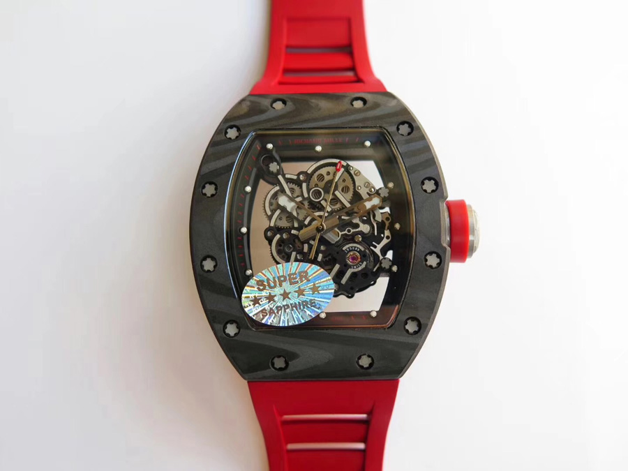 Richard Mille Replica RM 055 Dây đeo cao su màu đỏ Bezel bằng sợi carbon -  Richardmille.to